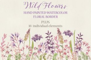 Wild Flower Watercolor Border Graphic Illustrations By Lolly's Lane Shoppe