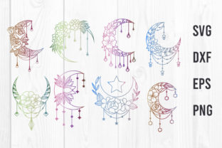 Print on Demand: Crescent Moon Flowers Svg, Moon Flowers Graphic Websites By dadan_pm