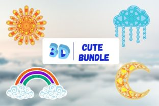 3D Cloud Sun Moon Rainbow SVG Bundle Graphic 3D SVG By SvgOcean