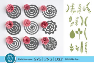 9 Rolled Paper Flower Set Graphic Crafts By SVGCutFile