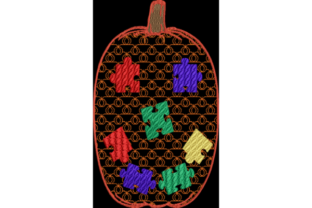Autism Awareness Puzzle Piece Pumpkin Halloween Embroidery Design By Wingsical Whims Designs