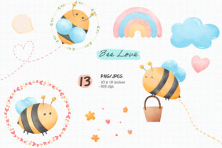 Print on Demand: Bee Love Watercolor PNG and JPEG Graphic Illustrations By iJStudio