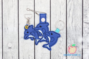 Bottlenose Dolphin ITH Key Fob Pattern Marine Mammals Embroidery Design By embroiderydesigns101