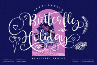 Print on Demand: Butterfly Holiday Script & Handwritten Font By perspectype