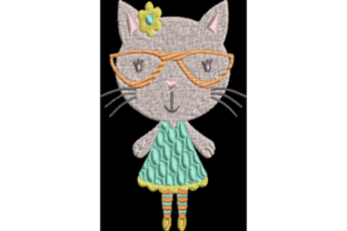 Cat with Glasses Cats Embroidery Design By Wingsical Whims Designs