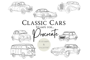 Classic Car Procreate Stamps and Palette Graphic Brushes By Mini Trezò Design