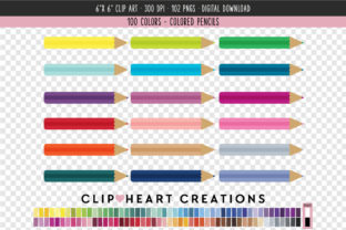 Coloring Pencils - 100 Colors Graphic Icons By clipheartcreations