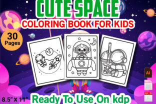 Print on Demand: Cute Space Coloring Book for Kids Graphic KDP Interiors By Duaa Store