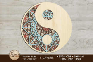 Files Cricut & Laser Cut MANDALA YIN YAN Graphic 3D SVG By LaserCutano