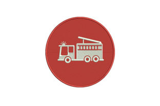 Firefighter Truck Icon Work & Occupation Embroidery Design By DigitEMB