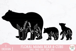 Floral Mama Bear and Baby Bear Cubs Svg Graphic Crafts By redearth and gumtrees
