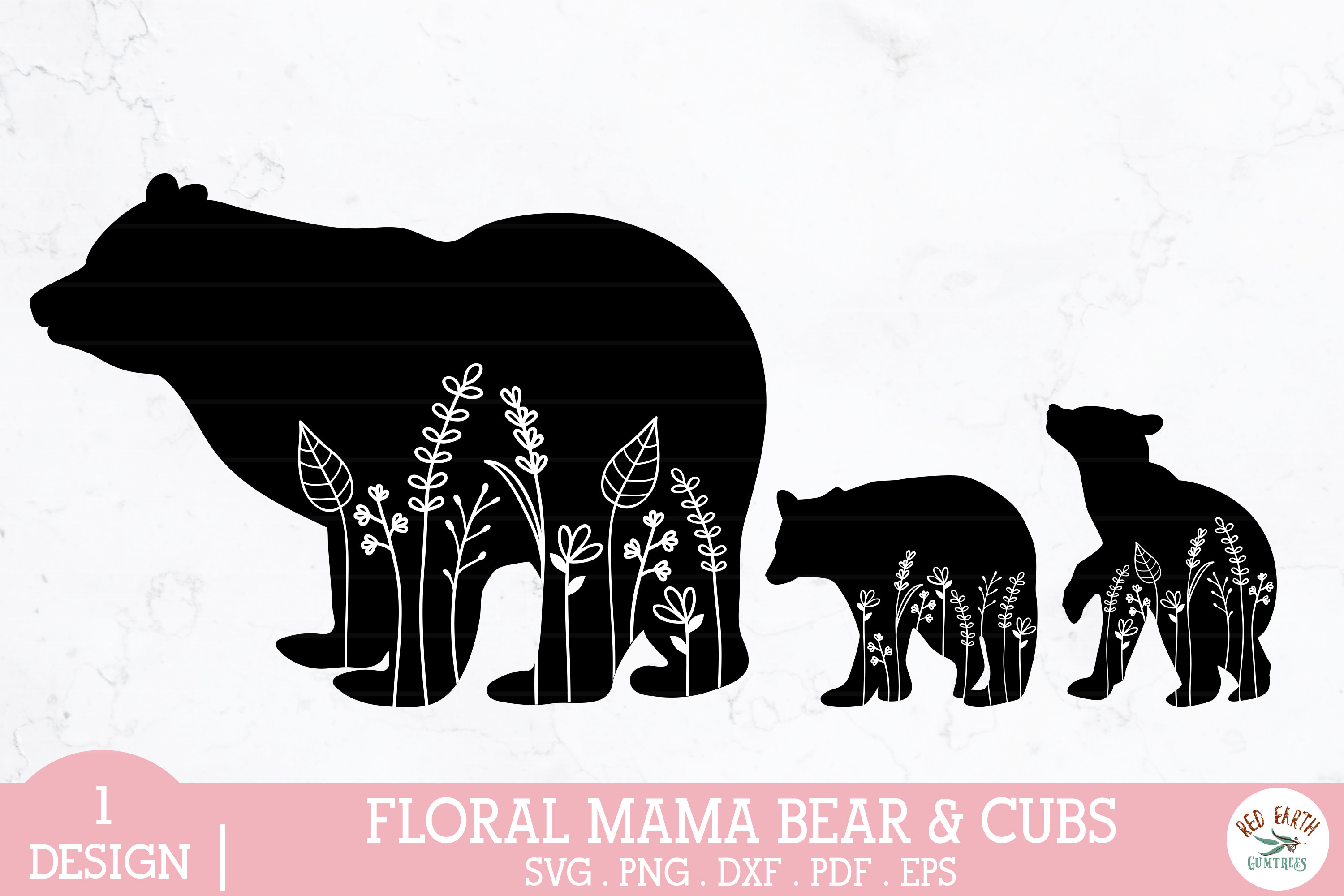 Floral Mama Bear and Baby Bear Cubs... SVG File