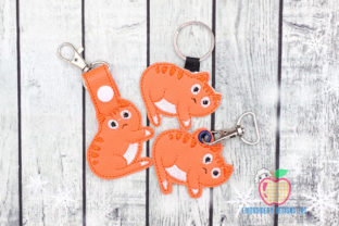 Fluffy Kitten in the Hoop Keyfob Cats Embroidery Design By embroiderydesigns101