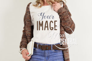 Girl Model in T-Shirt Mockup, Fall Shirt Graphic Product Mockups By Mockup Central