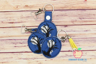 Halloween Tree ITH Snaptab Keyfob Design Halloween Embroidery Design By embroiderydesigns101
