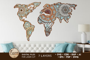 Laser Cut Files MANDALA MAP Graphic 3D SVG By LaserCutano