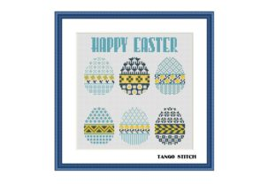 Print on Demand: Light Blue Happy Easter Cross Stitch Graphic Cross Stitch Patterns By Tango Stitch