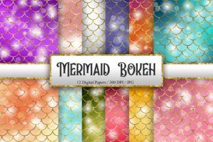 Print on Demand: Mermaid Scales Bokeh Background Graphic Backgrounds By PinkPearly