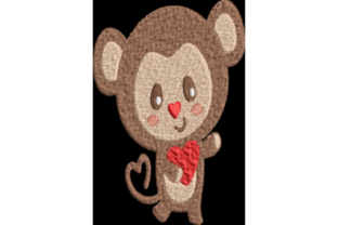 Monkey with Heart Valentine's Day Embroidery Design By Wingsical Whims Designs
