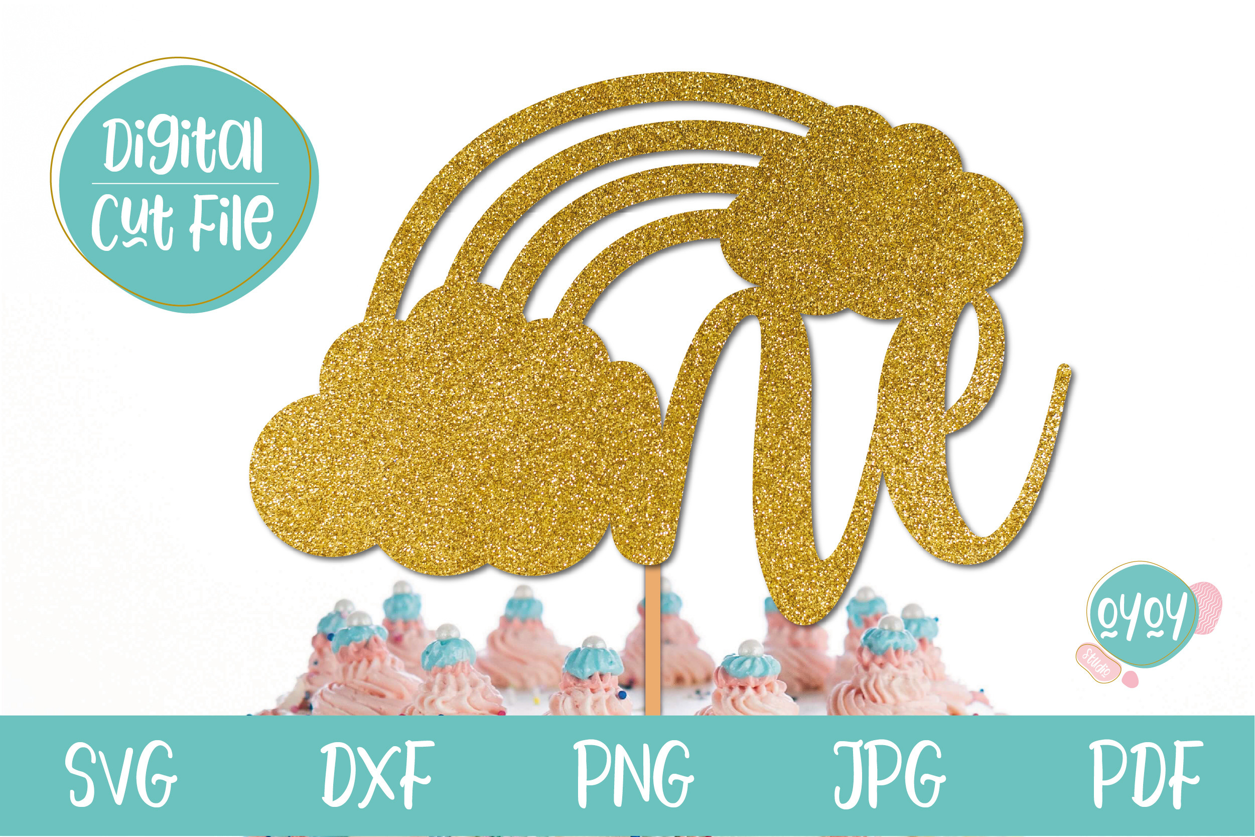 One Cake Topper SVG with Rainbow SVG File