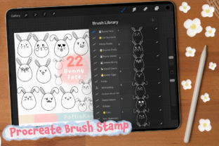 Print on Demand: Procreate Brush Stamp Funny Bunny Face Graphic Brushes By Pattiokawaiistuff