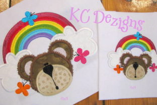 Rainbow Bear Applique Tierkinder Stickdesign von karen50