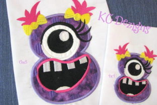 Silly Monster Number 8 Applique Design Jungs & Mädchen Stickdesign von karen50