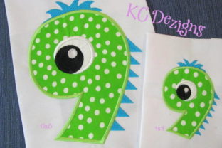 Silly Monster Number 9 Applique Design Boys & Girls Embroidery Design By karen50