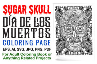 Sugar Skull Coloring Page for Adults - 1 Graphic Coloring Pages & Books Adults By XpertDesigner