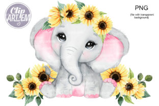 Print on Demand: Sunflower Girl Elephant PNG Clip Art Graphic Illustrations By clipArtem