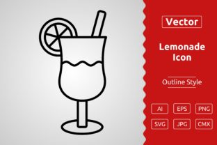 Print on Demand: Vector Lemonade Outline Icon Design Graphic Icons By Muhammad Atiq
