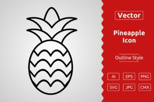 Print on Demand: Vector Pineapple Outline Icon Design Graphic Icons By Muhammad Atiq