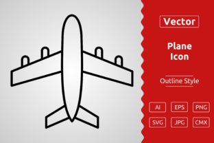 Print on Demand: Vector Plane Outline Icon Design Graphic Icons By Muhammad Atiq