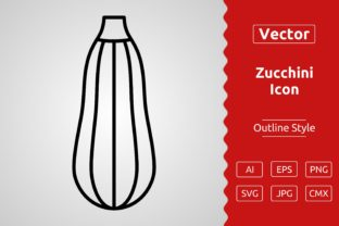 Print on Demand: Vector Zucchini Outline Icon Design Gráfico Iconos Por Muhammad Atiq