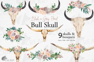 Print on Demand: Watercolour Blush Grey Floral Bull Skull Graphic Print Templates By CreartGraphics