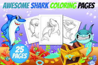 Awesome Shark Coloring Book for Kids Graphic Coloring Pages & Books Kids By Colors Graphic