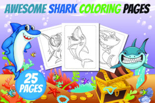 Awesome Shark Coloring Book for Kids Graphic KDP Interiors By Colors Graphic