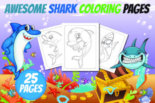 Awesome Shark Coloring Book for Kids Grafik KPD Innenseiten von Colors Graphic