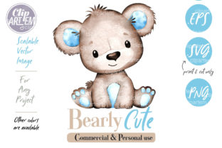 Print on Demand: Blue Brown Bear Baby Boy PNG Clip Art Graphic Illustrations By clipArtem