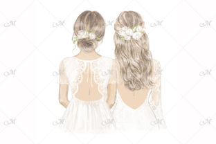 Bridesmaids in White Illustration Graphic Illustrations By MaddyZ