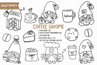 Print on Demand: Coffee Gnomes Digital Stamps Graphic Illustrations By Chonnieartwork