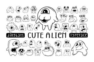 Print on Demand: Cute Alien Dingbats Font By Dito (7NTypes)