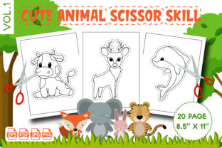 Cute Animal Scissor Skill Coloring Pages Graphic KDP Interiors By Vibgyor