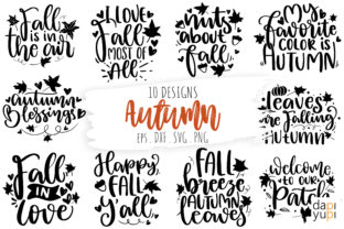 Print on Demand: Fall Autumn SVG Bundle, Thanksgiving SVG Gráfico Crafts Por dapiyupi
