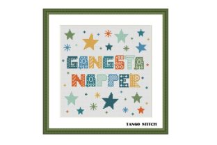 Print on Demand: Gangsta Napper Funny Nursery Letters Graphic Cross Stitch Patterns By Tango Stitch