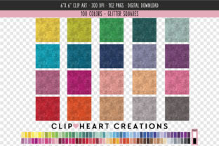 Glittery Square Clip Art - 100 Colors Graphic Icons By clipheartcreations