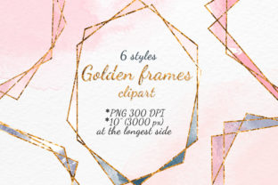 Golden Polygonal Frames Clipart Set Graphic Objects By SweetRenieShop