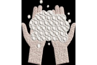 Hands with Bubbles Awareness Embroidery Design By Wingsical Whims Designs