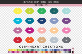 Lips Clip Art - 100 Colors Graphic Icons By clipheartcreations