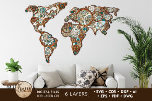 Print on Demand: Multilayer Cut File STEAMPUNK MAP Graphic 3D SVG By LaserCutano